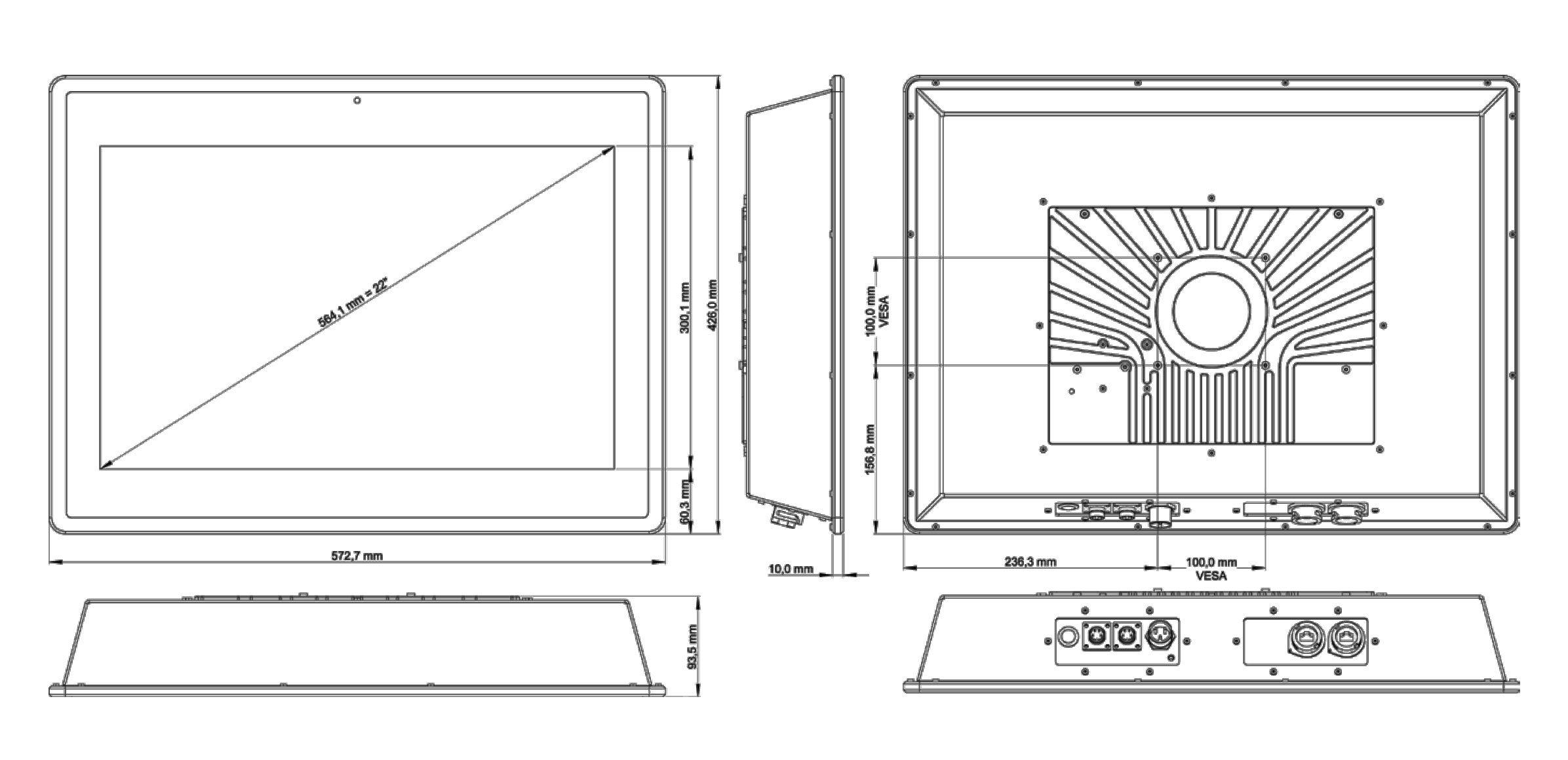 TLSM-220A IP65 Industrie-Monitor mit Touchscreen (Skizze)