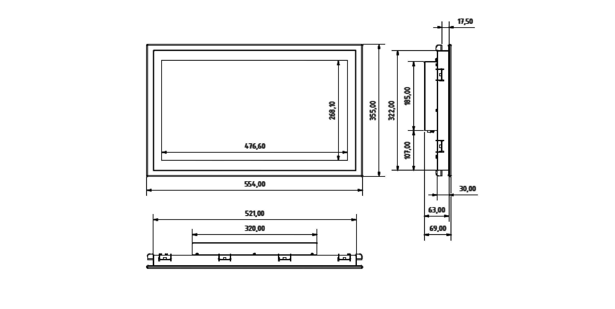 SCM-215 Einbau-Industrie-Monitor mit Touchscreen (Skizze)