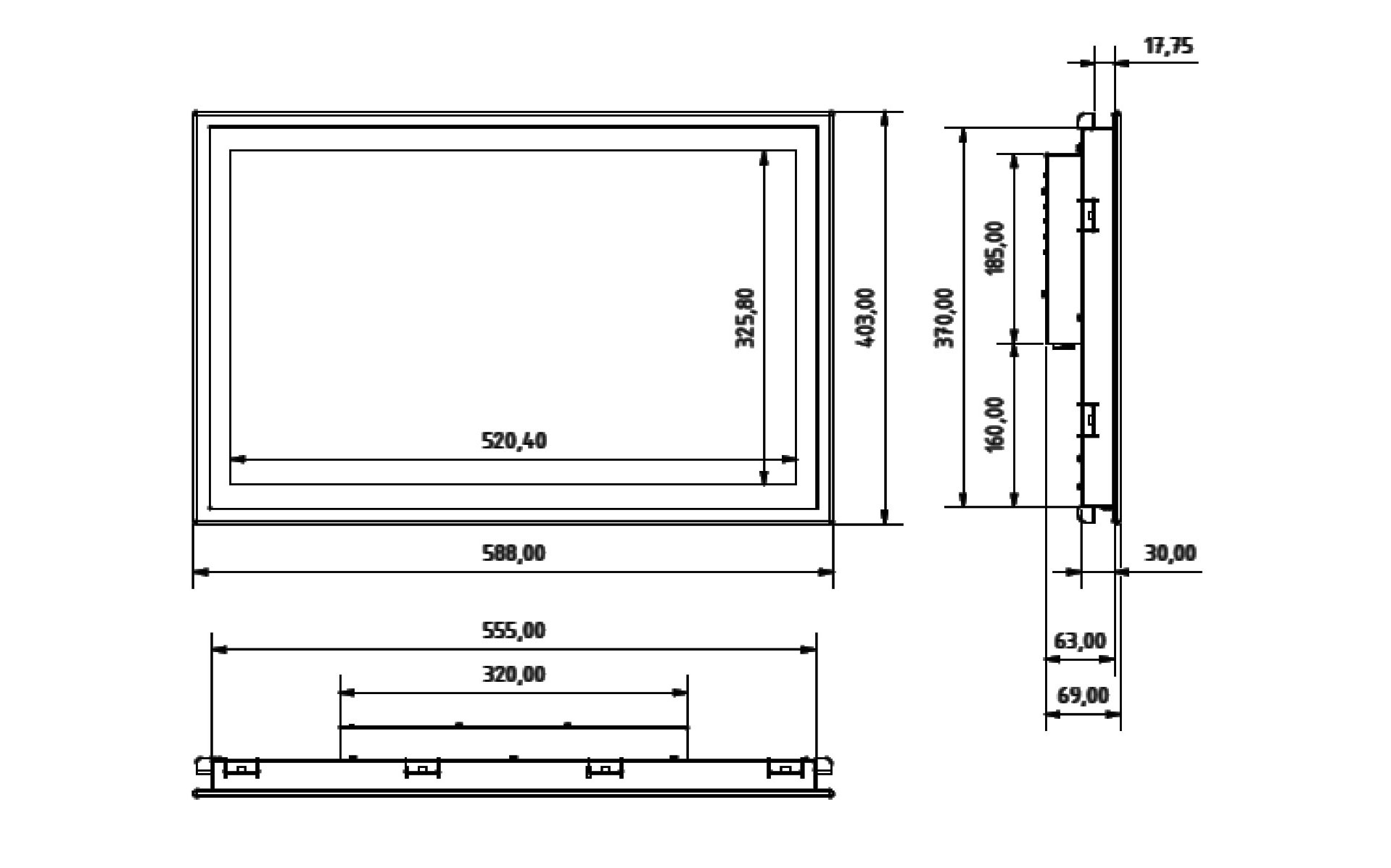 SCM-240 Einbau-Industrie-Monitor mit Touchscreen (Skizze)
