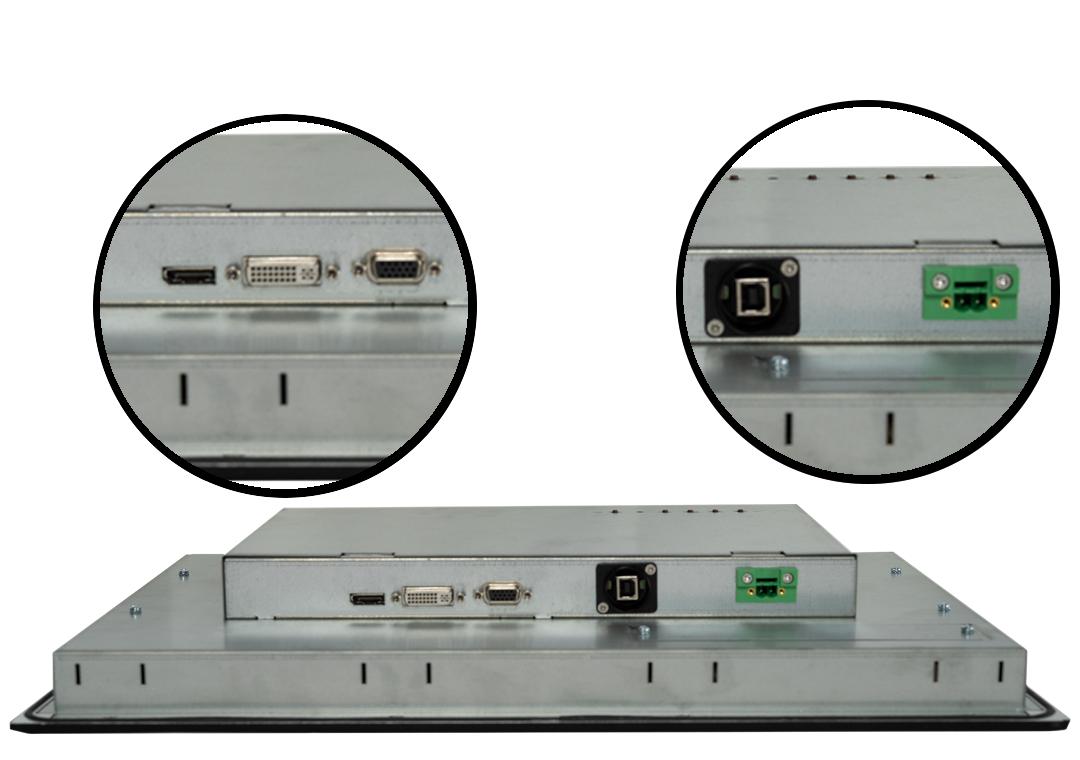 Einbau-Industrie-Monitor mit Touchscreen (Detail Anschlüsse)